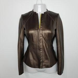 Lafayette 148 Bronze Leather Jacket